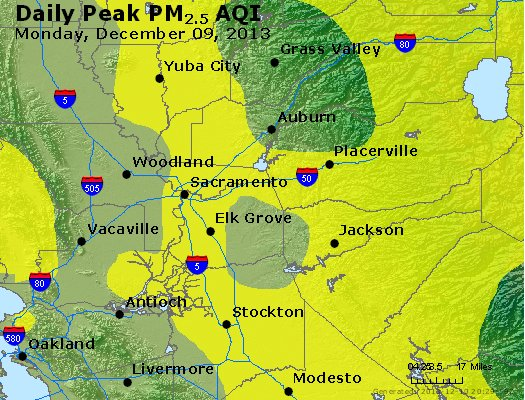 Peak Particles PM<sub>2.5</sub> (24-hour) - http://files.airnowtech.org/airnow/2013/20131209/peak_pm25_sacramento_ca.jpg