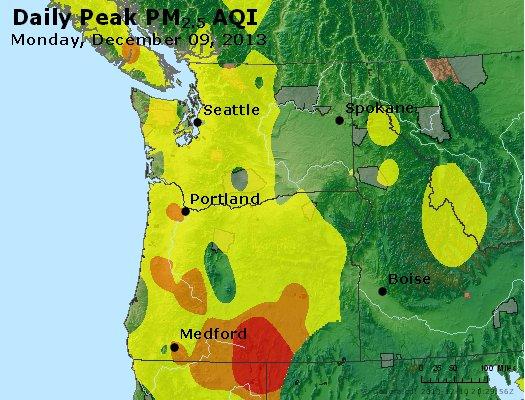 Peak Particles PM<sub>2.5</sub> (24-hour) - http://files.airnowtech.org/airnow/2013/20131209/peak_pm25_wa_or.jpg