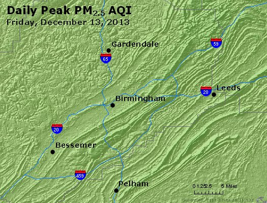 Peak Particles PM<sub>2.5</sub> (24-hour) - http://files.airnowtech.org/airnow/2013/20131213/peak_pm25_birmingham_al.jpg