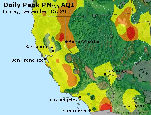 Peak Particles PM<sub>2.5</sub> (24-hour) - http://files.airnowtech.org/airnow/2013/20131213/peak_pm25_ca_nv.jpg