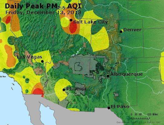 Peak Particles PM<sub>2.5</sub> (24-hour) - http://files.airnowtech.org/airnow/2013/20131213/peak_pm25_co_ut_az_nm.jpg