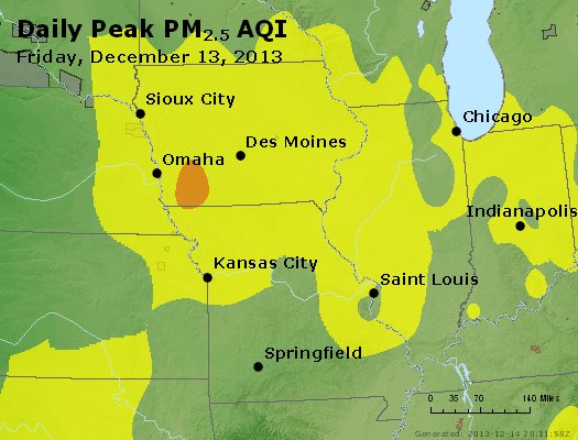 Peak Particles PM<sub>2.5</sub> (24-hour) - http://files.airnowtech.org/airnow/2013/20131213/peak_pm25_ia_il_mo.jpg