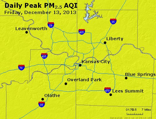 Peak Particles PM<sub>2.5</sub> (24-hour) - http://files.airnowtech.org/airnow/2013/20131213/peak_pm25_kansascity_mo.jpg