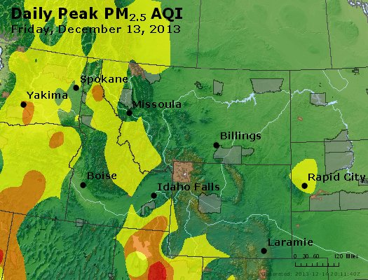 Peak Particles PM<sub>2.5</sub> (24-hour) - http://files.airnowtech.org/airnow/2013/20131213/peak_pm25_mt_id_wy.jpg