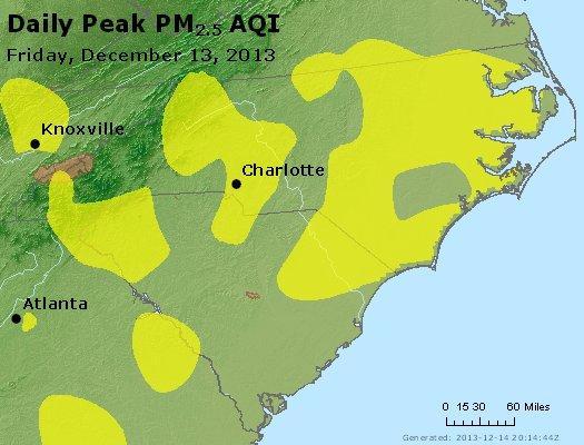 Peak Particles PM<sub>2.5</sub> (24-hour) - http://files.airnowtech.org/airnow/2013/20131213/peak_pm25_nc_sc.jpg