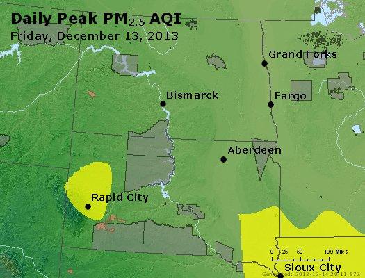 Peak Particles PM<sub>2.5</sub> (24-hour) - http://files.airnowtech.org/airnow/2013/20131213/peak_pm25_nd_sd.jpg