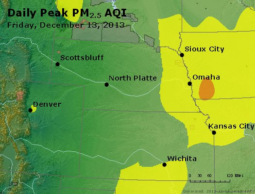 Peak Particles PM<sub>2.5</sub> (24-hour) - http://files.airnowtech.org/airnow/2013/20131213/peak_pm25_ne_ks.jpg