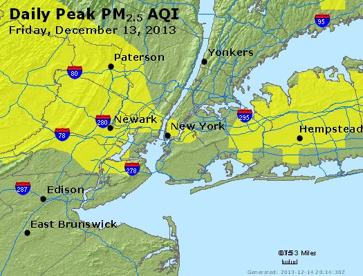 Peak Particles PM<sub>2.5</sub> (24-hour) - http://files.airnowtech.org/airnow/2013/20131213/peak_pm25_newyork_ny.jpg