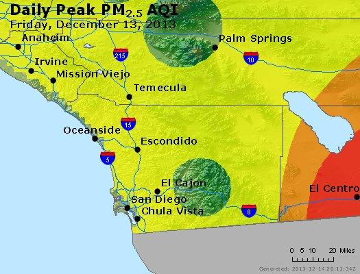 Peak Particles PM<sub>2.5</sub> (24-hour) - http://files.airnowtech.org/airnow/2013/20131213/peak_pm25_sandiego_ca.jpg