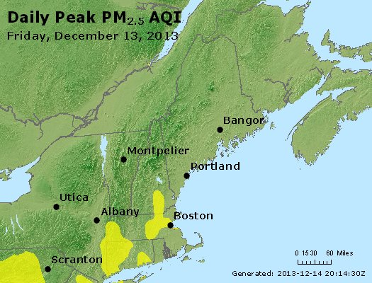 Peak Particles PM<sub>2.5</sub> (24-hour) - http://files.airnowtech.org/airnow/2013/20131213/peak_pm25_vt_nh_ma_ct_ri_me.jpg