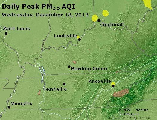 Peak Particles PM<sub>2.5</sub> (24-hour) - http://files.airnowtech.org/airnow/2013/20131218/peak_pm25_ky_tn.jpg