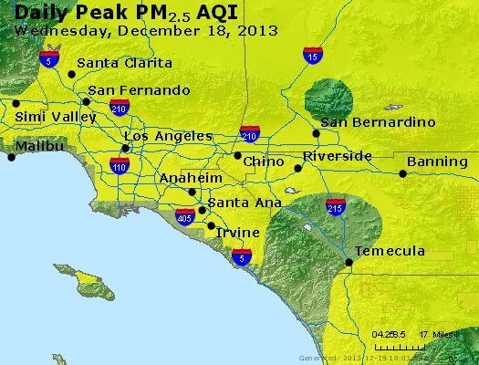 Peak Particles PM<sub>2.5</sub> (24-hour) - http://files.airnowtech.org/airnow/2013/20131218/peak_pm25_losangeles_ca.jpg