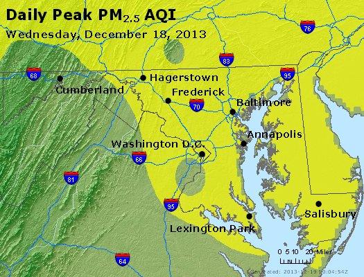 Peak Particles PM<sub>2.5</sub> (24-hour) - http://files.airnowtech.org/airnow/2013/20131218/peak_pm25_maryland.jpg