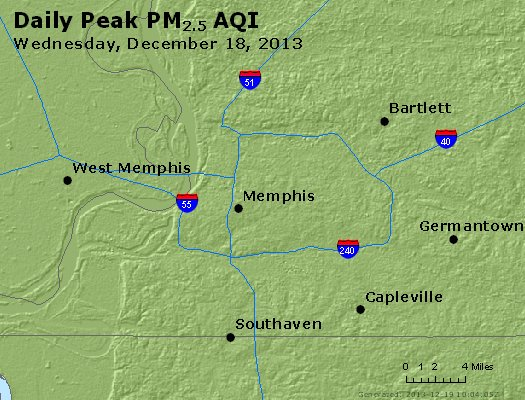 Peak Particles PM<sub>2.5</sub> (24-hour) - http://files.airnowtech.org/airnow/2013/20131218/peak_pm25_memphis_tn.jpg