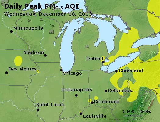 Peak Particles PM<sub>2.5</sub> (24-hour) - http://files.airnowtech.org/airnow/2013/20131218/peak_pm25_mi_in_oh.jpg