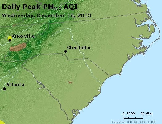 Peak Particles PM<sub>2.5</sub> (24-hour) - http://files.airnowtech.org/airnow/2013/20131218/peak_pm25_nc_sc.jpg