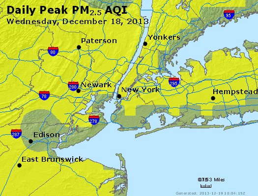 Peak Particles PM<sub>2.5</sub> (24-hour) - http://files.airnowtech.org/airnow/2013/20131218/peak_pm25_newyork_ny.jpg