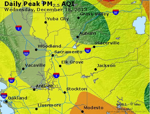 Peak Particles PM<sub>2.5</sub> (24-hour) - http://files.airnowtech.org/airnow/2013/20131218/peak_pm25_sacramento_ca.jpg
