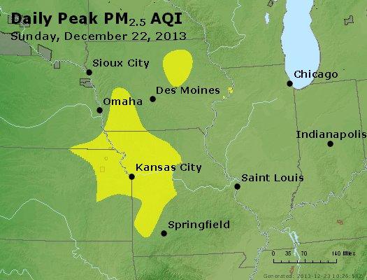 Peak Particles PM<sub>2.5</sub> (24-hour) - http://files.airnowtech.org/airnow/2013/20131222/peak_pm25_ia_il_mo.jpg