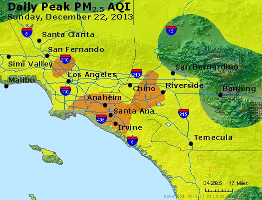 Peak Particles PM<sub>2.5</sub> (24-hour) - http://files.airnowtech.org/airnow/2013/20131222/peak_pm25_losangeles_ca.jpg