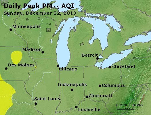 Peak Particles PM<sub>2.5</sub> (24-hour) - http://files.airnowtech.org/airnow/2013/20131222/peak_pm25_mi_in_oh.jpg