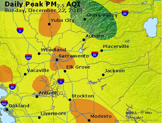 Peak Particles PM<sub>2.5</sub> (24-hour) - http://files.airnowtech.org/airnow/2013/20131222/peak_pm25_sacramento_ca.jpg