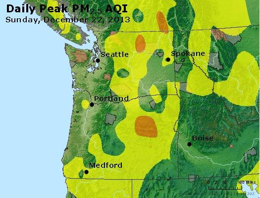 Peak Particles PM<sub>2.5</sub> (24-hour) - http://files.airnowtech.org/airnow/2013/20131222/peak_pm25_wa_or.jpg