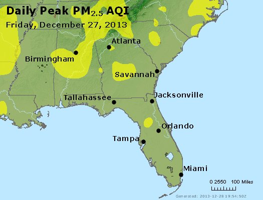 Peak Particles PM<sub>2.5</sub> (24-hour) - http://files.airnowtech.org/airnow/2013/20131227/peak_pm25_al_ga_fl.jpg