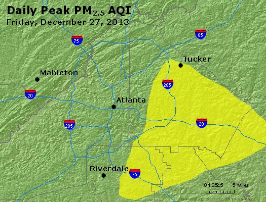 Peak Particles PM<sub>2.5</sub> (24-hour) - http://files.airnowtech.org/airnow/2013/20131227/peak_pm25_atlanta_ga.jpg
