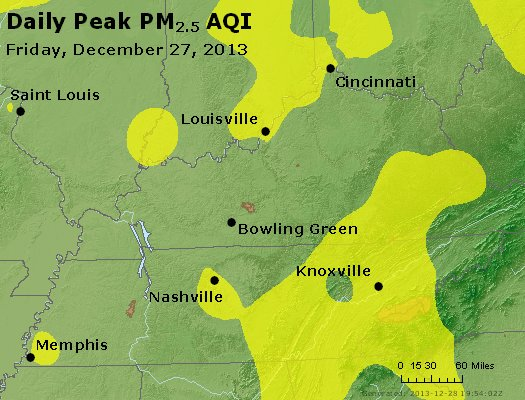 Peak Particles PM<sub>2.5</sub> (24-hour) - http://files.airnowtech.org/airnow/2013/20131227/peak_pm25_ky_tn.jpg