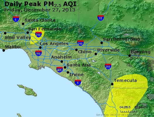 Peak Particles PM<sub>2.5</sub> (24-hour) - http://files.airnowtech.org/airnow/2013/20131227/peak_pm25_losangeles_ca.jpg