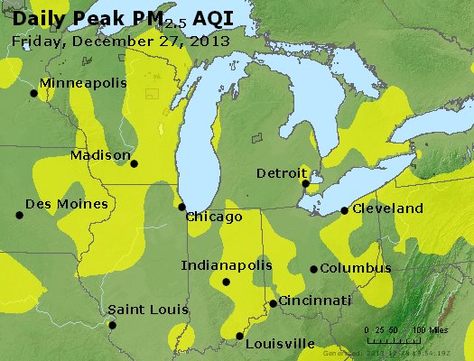 Peak Particles PM<sub>2.5</sub> (24-hour) - http://files.airnowtech.org/airnow/2013/20131227/peak_pm25_mi_in_oh.jpg