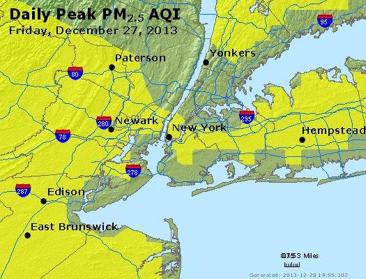 Peak Particles PM<sub>2.5</sub> (24-hour) - http://files.airnowtech.org/airnow/2013/20131227/peak_pm25_newyork_ny.jpg