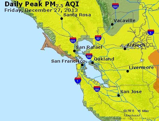 Peak Particles PM<sub>2.5</sub> (24-hour) - http://files.airnowtech.org/airnow/2013/20131227/peak_pm25_sanfrancisco_ca.jpg