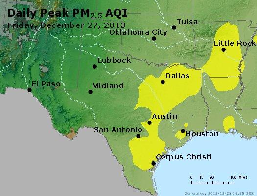 Peak Particles PM<sub>2.5</sub> (24-hour) - http://files.airnowtech.org/airnow/2013/20131227/peak_pm25_tx_ok.jpg