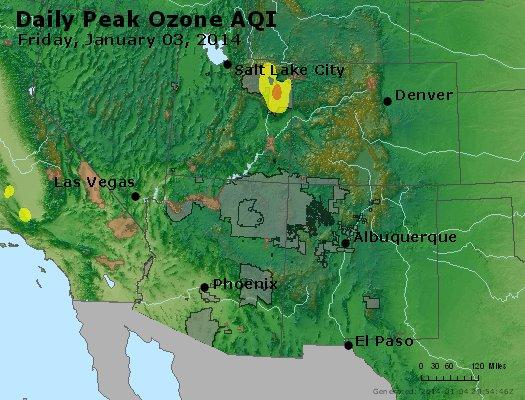 Peak Ozone (8-hour) - http://files.airnowtech.org/airnow/2014/20140103/peak_o3_co_ut_az_nm.jpg