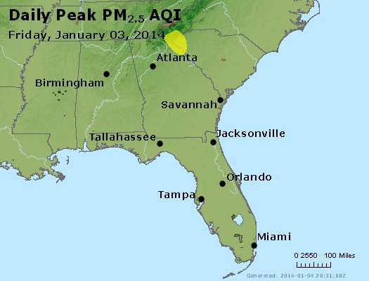 Peak Particles PM<sub>2.5</sub> (24-hour) - http://files.airnowtech.org/airnow/2014/20140103/peak_pm25_al_ga_fl.jpg