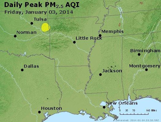 Peak Particles PM<sub>2.5</sub> (24-hour) - http://files.airnowtech.org/airnow/2014/20140103/peak_pm25_ar_la_ms.jpg