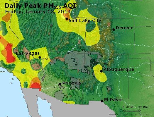 Peak Particles PM<sub>2.5</sub> (24-hour) - http://files.airnowtech.org/airnow/2014/20140103/peak_pm25_co_ut_az_nm.jpg