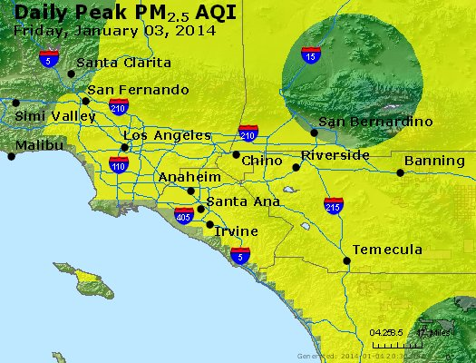 Peak Particles PM<sub>2.5</sub> (24-hour) - http://files.airnowtech.org/airnow/2014/20140103/peak_pm25_losangeles_ca.jpg