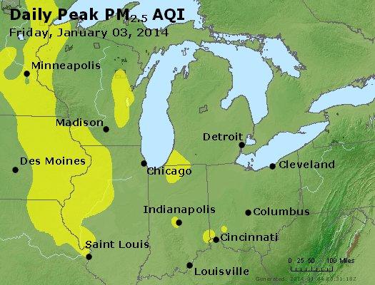 Peak Particles PM<sub>2.5</sub> (24-hour) - http://files.airnowtech.org/airnow/2014/20140103/peak_pm25_mi_in_oh.jpg