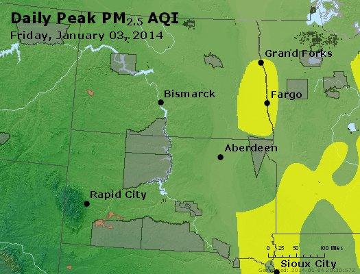 Peak Particles PM<sub>2.5</sub> (24-hour) - http://files.airnowtech.org/airnow/2014/20140103/peak_pm25_nd_sd.jpg