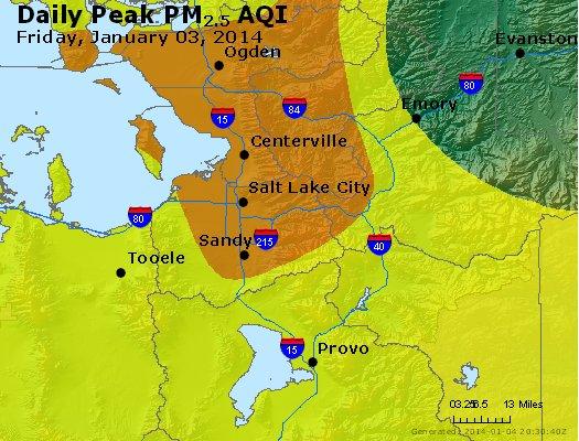 Peak Particles PM<sub>2.5</sub> (24-hour) - http://files.airnowtech.org/airnow/2014/20140103/peak_pm25_saltlakecity_ut.jpg