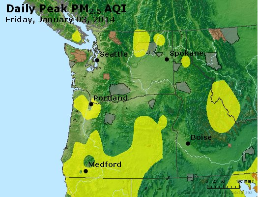 Peak Particles PM<sub>2.5</sub> (24-hour) - http://files.airnowtech.org/airnow/2014/20140103/peak_pm25_wa_or.jpg