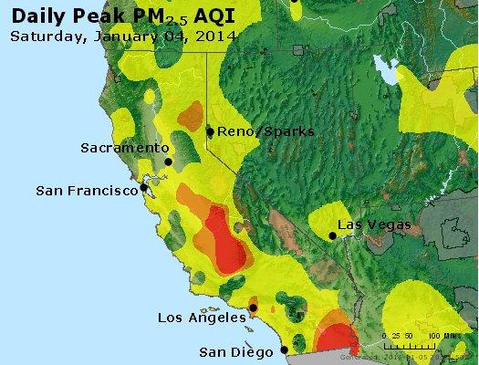 Peak Particles PM<sub>2.5</sub> (24-hour) - http://files.airnowtech.org/airnow/2014/20140104/peak_pm25_ca_nv.jpg