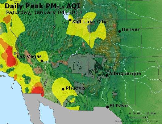 Peak Particles PM<sub>2.5</sub> (24-hour) - http://files.airnowtech.org/airnow/2014/20140104/peak_pm25_co_ut_az_nm.jpg