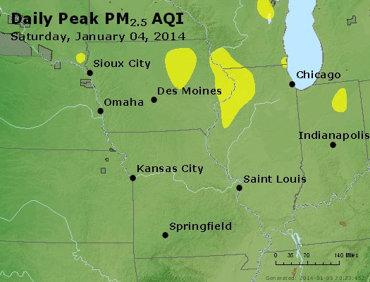 Peak Particles PM<sub>2.5</sub> (24-hour) - http://files.airnowtech.org/airnow/2014/20140104/peak_pm25_ia_il_mo.jpg