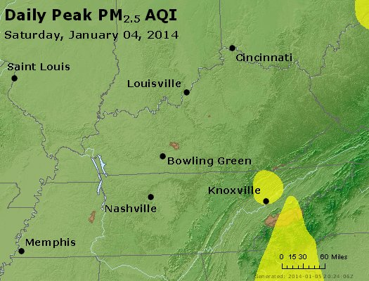Peak Particles PM<sub>2.5</sub> (24-hour) - http://files.airnowtech.org/airnow/2014/20140104/peak_pm25_ky_tn.jpg