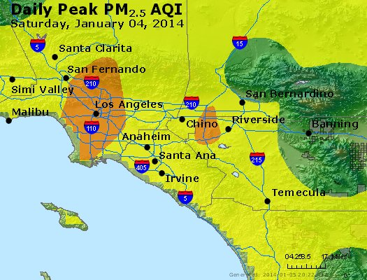 Peak Particles PM<sub>2.5</sub> (24-hour) - http://files.airnowtech.org/airnow/2014/20140104/peak_pm25_losangeles_ca.jpg