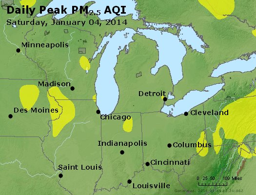 Peak Particles PM<sub>2.5</sub> (24-hour) - http://files.airnowtech.org/airnow/2014/20140104/peak_pm25_mi_in_oh.jpg
